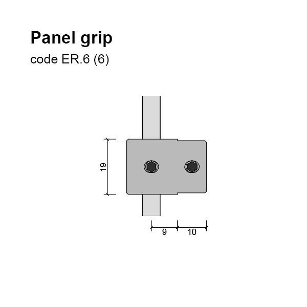 6mm Single Sided Panel Grip, Solid Dimensions