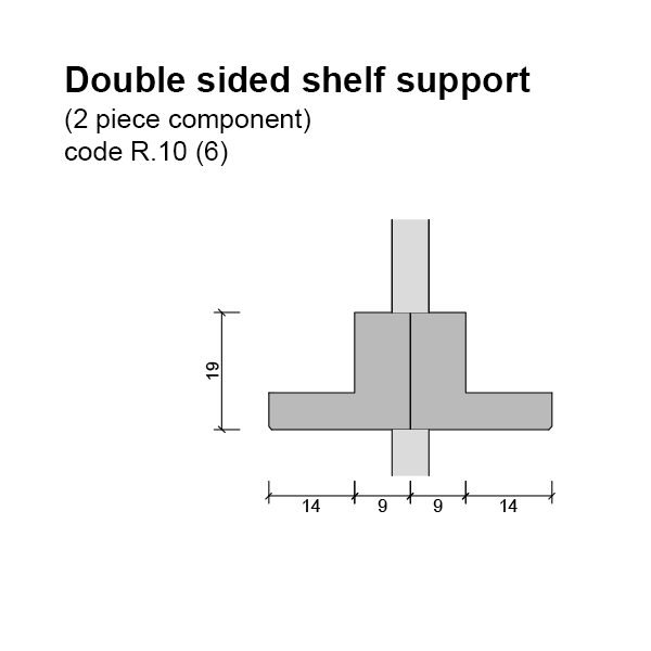 6mm Double Sided Shelf Support (2 piece component) Dimensions