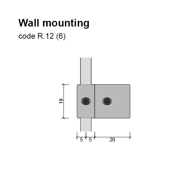6mm Single Rod Wall Mounting Dimensions