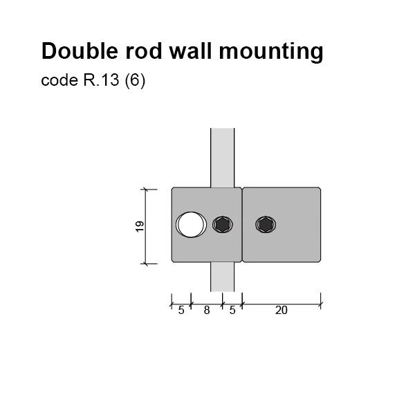 6mm Double Rod Wall Mounting Dimensions