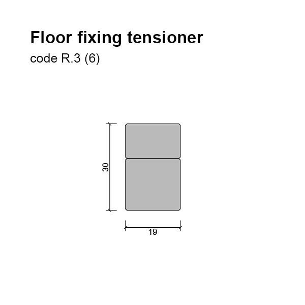 6mm Floor/base Fixing and Tensioner Dimensions