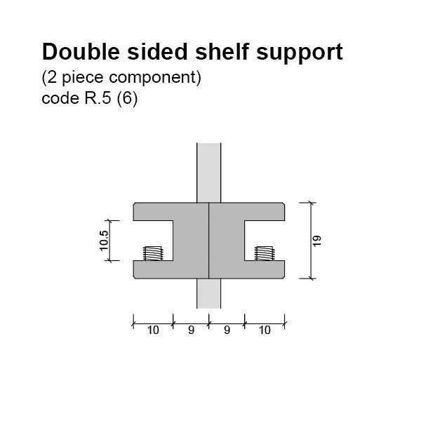 6mm Double Sided Glass Shelf Support (2 piece component) Dimensions