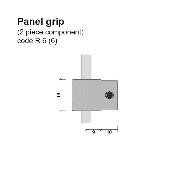 6mm Single Sided Panel Grip (2 piece component) Dimensions
