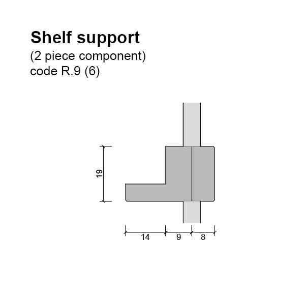 6mm Single Sided Shelf Support (2 piece component) Dimensions