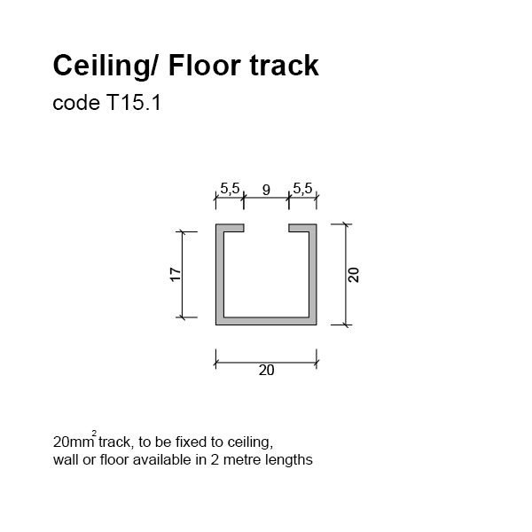 6mm Ceiling / Floor Track Dimensions