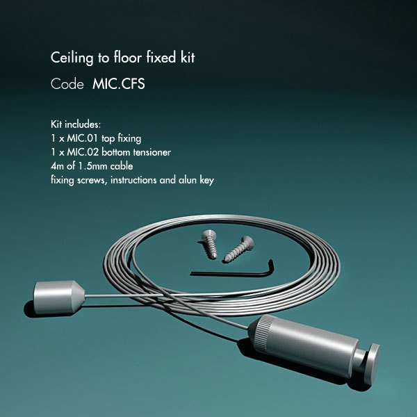 Ceiling to floor fixed kit