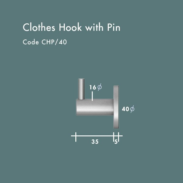 40mm clothes hook with pin