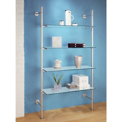 LS.4SGS Ladder Shelving with 4 Sandblasted Glass Shelves