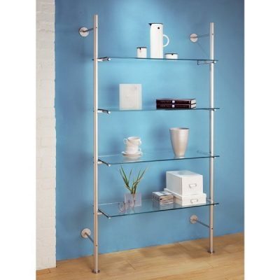 LS.4CGS Ladder Shelving with 4 Clear Glass Shelves