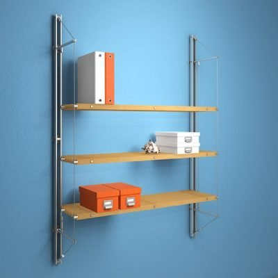 FIN.3STS Fin Shelving with 3 Slatted Timber Shelves