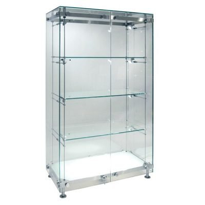 Wide illuminated glass cabinet
