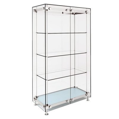 wide glass display cabinet