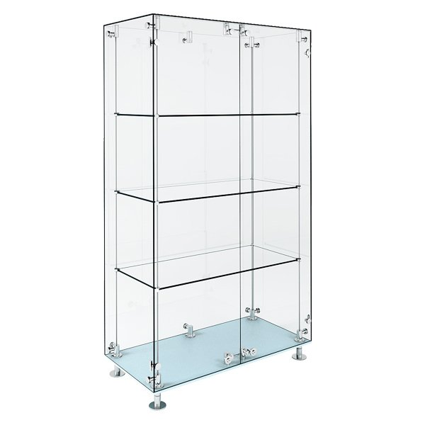 wide patch style glass cabinet