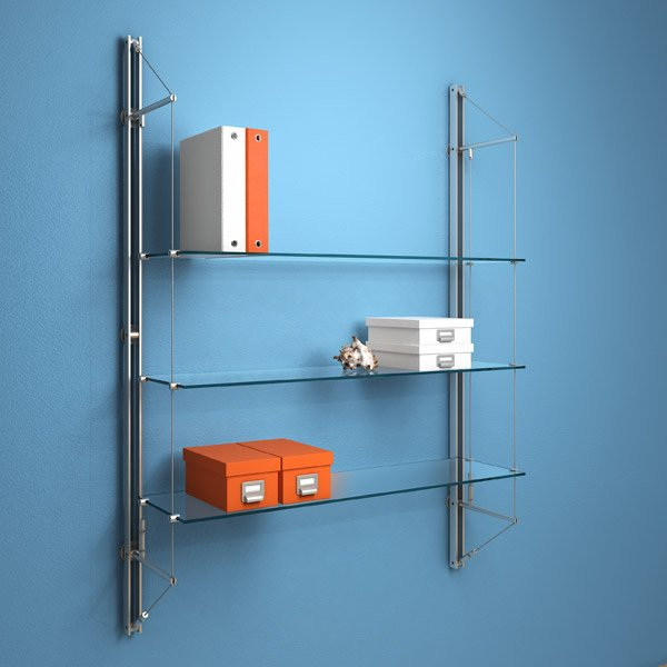 Fin.3CGS Fin Shelving with 3 clear glass shelves