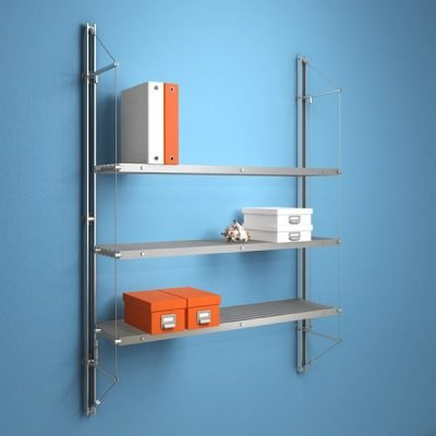 FIN.3SMS Fin Shelving with 3 Slatted Metal Shelves
