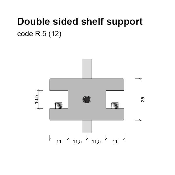 12mm Double Sided Glass Shelf Support Dimensions